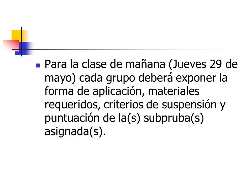 Para la clase de mañana (Jueves 29 de mayo) cada grupo deberá exponer la forma de aplicación, materiales requeridos, criterios de suspensión y puntuac