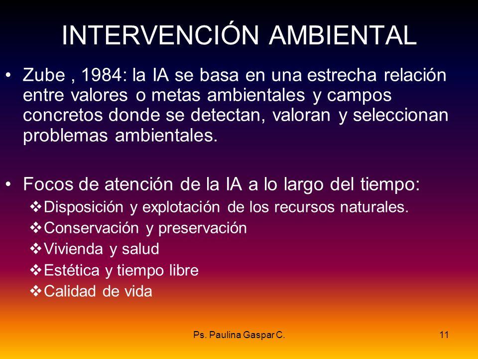 Ps. Paulina Gaspar C.11 INTERVENCIÓN AMBIENTAL Zube, 1984: la IA se basa en una estrecha relación entre valores o metas ambientales y campos concretos