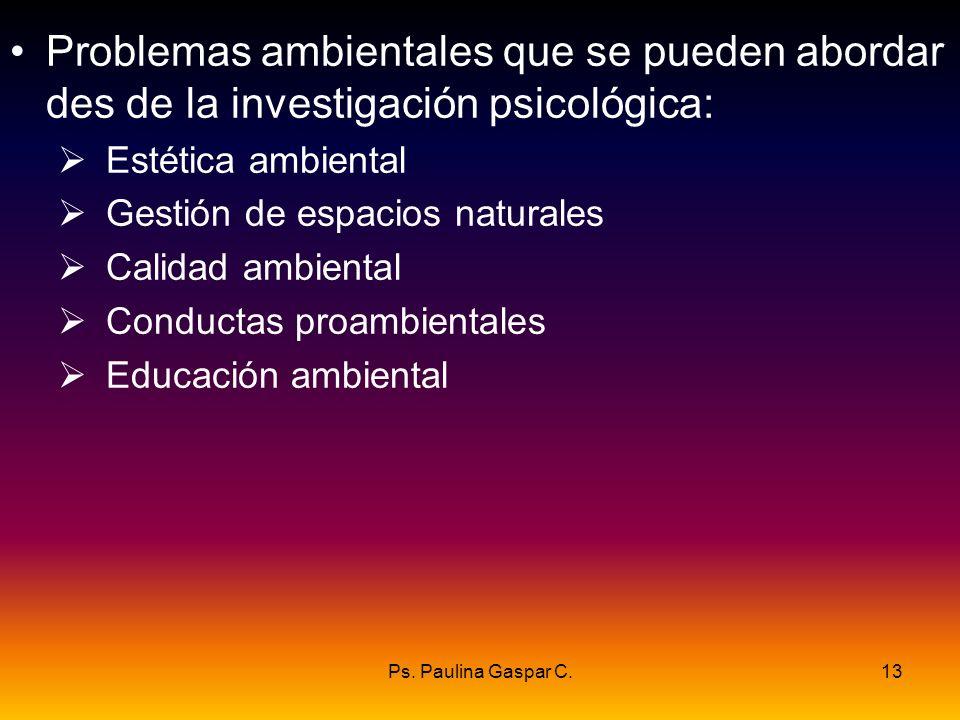 Ps. Paulina Gaspar C.13 Problemas ambientales que se pueden abordar des de la investigación psicológica: Estética ambiental Gestión de espacios natura