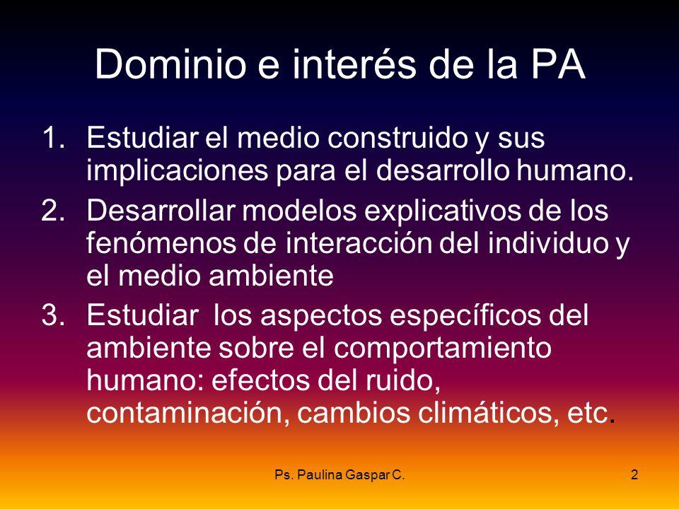 Ps. Paulina Gaspar C.2 Dominio e interés de la PA 1.Estudiar el medio construido y sus implicaciones para el desarrollo humano. 2.Desarrollar modelos