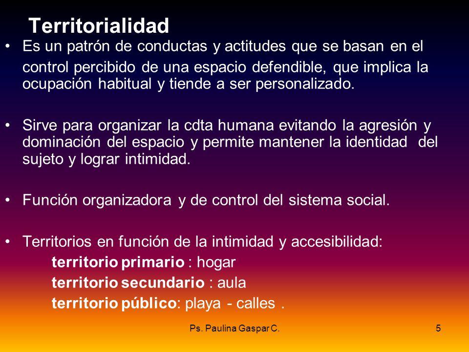 Ps. Paulina Gaspar C.5 Territorialidad Es un patrón de conductas y actitudes que se basan en el control percibido de una espacio defendible, que impli