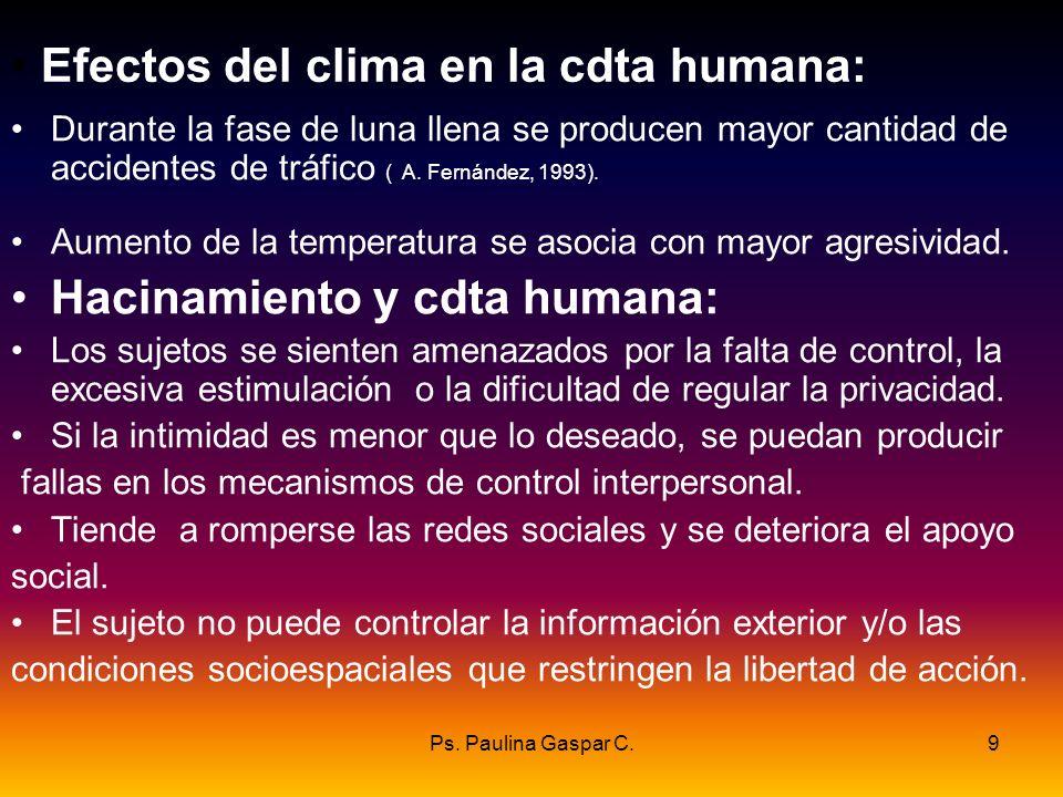 Ps. Paulina Gaspar C.9 Efectos del clima en la cdta humana: Durante la fase de luna llena se producen mayor cantidad de accidentes de tráfico ( A. Fer