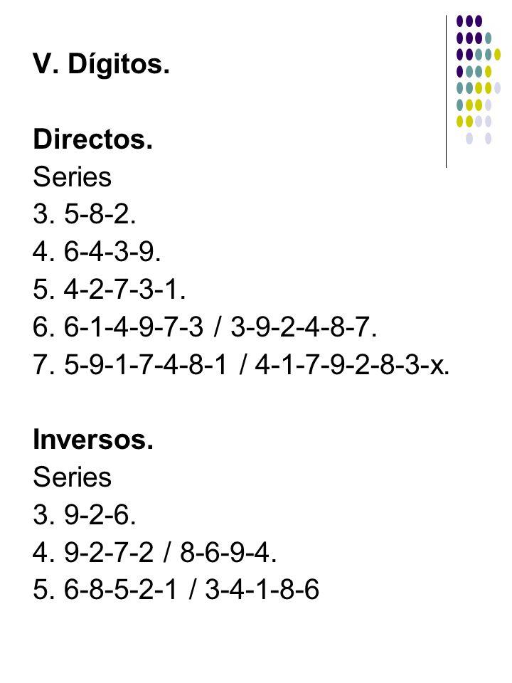 V. Dígitos. Directos. Series 3. 5-8-2. 4. 6-4-3-9. 5. 4-2-7-3-1. 6. 6-1-4-9-7-3 / 3-9-2-4-8-7. 7. 5-9-1-7-4-8-1 / 4-1-7-9-2-8-3-x. Inversos. Series 3.