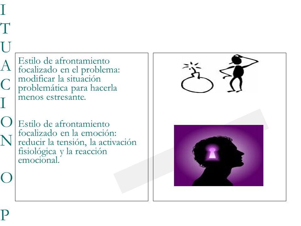 23/03/0923/03/09 FOCALIZARSE EN LA SITUACION O PROBLEMAFOCALIZARSE EN LA SITUACION O PROBLEMA Estilo de afrontamiento focalizado en el problema: modificar la situación problemática para hacerla menos estresante.