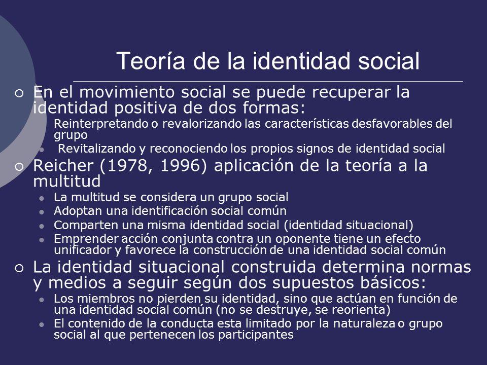 Teoría de la identidad social En el movimiento social se puede recuperar la identidad positiva de dos formas: Reinterpretando o revalorizando las cara