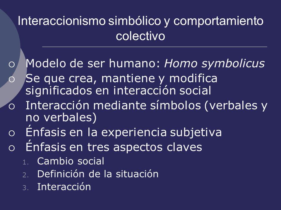 Interaccionismo simbólico y comportamiento colectivo Modelo de ser humano: Homo symbolicus Se que crea, mantiene y modifica significados en interacció