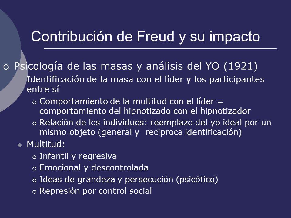 Contribución de Freud y su impacto Psicología de las masas y análisis del YO (1921) Identificación de la masa con el líder y los participantes entre s