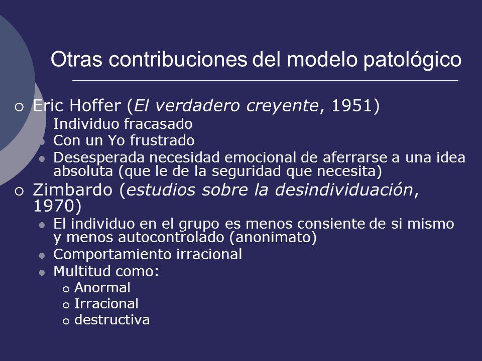 Otras contribuciones del modelo patológico Eric Hoffer (El verdadero creyente, 1951) Individuo fracasado Con un Yo frustrado Desesperada necesidad emo