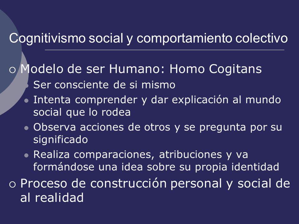 Cognitivismo social y comportamiento colectivo Modelo de ser Humano: Homo Cogitans Ser consciente de si mismo Intenta comprender y dar explicación al