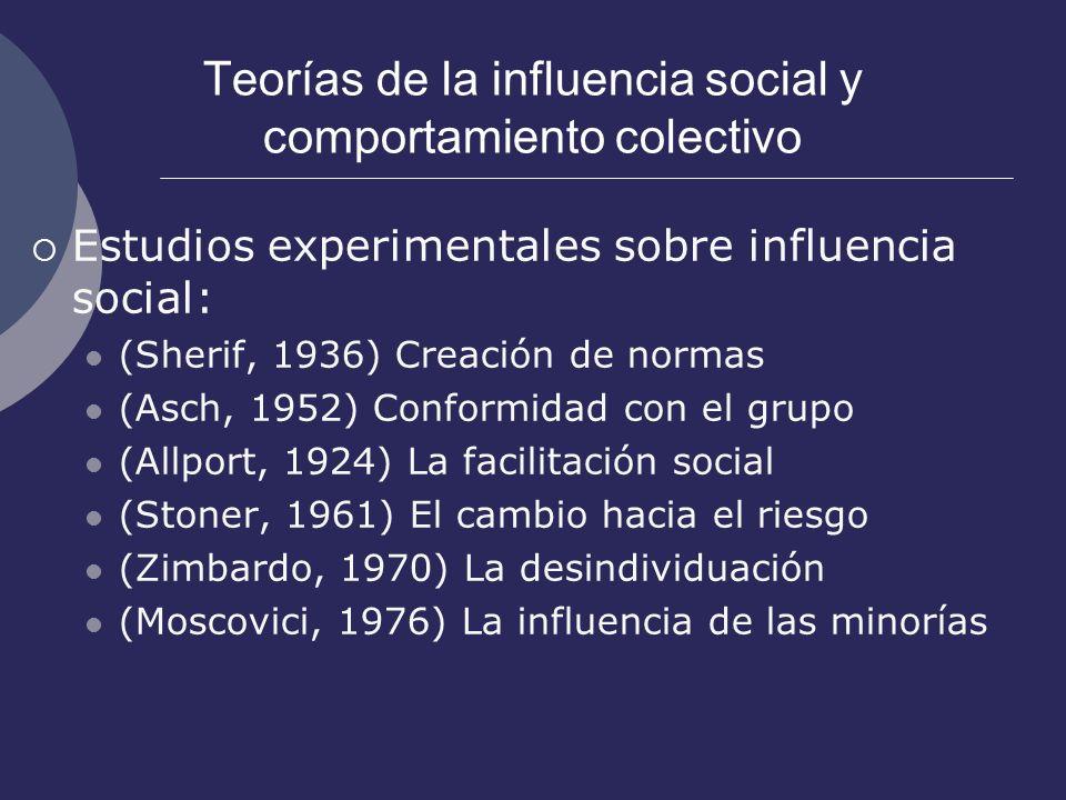 Teorías de la influencia social y comportamiento colectivo Estudios experimentales sobre influencia social: (Sherif, 1936) Creación de normas (Asch, 1