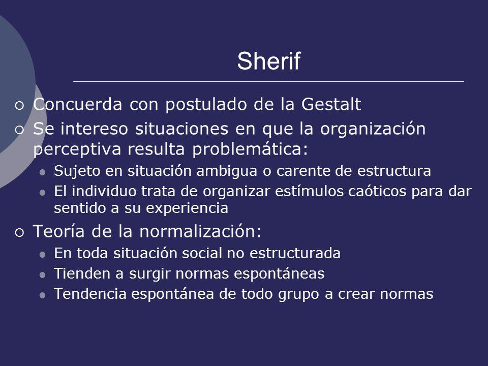 Sherif Concuerda con postulado de la Gestalt Se intereso situaciones en que la organización perceptiva resulta problemática: Sujeto en situación ambig
