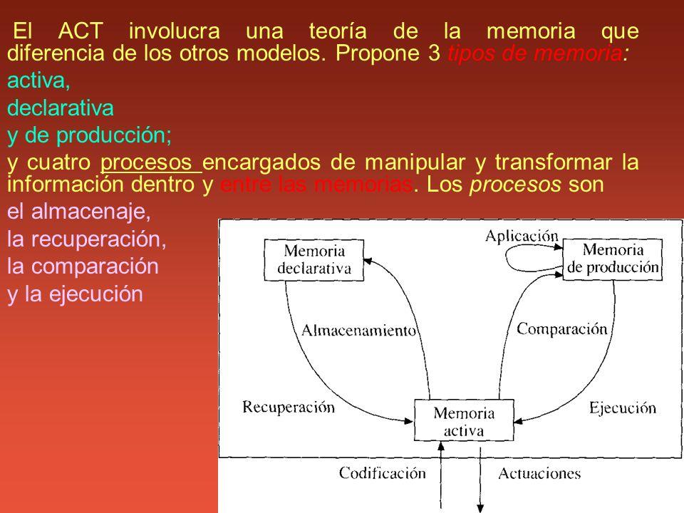 El ACT involucra una teoría de la memoria que diferencia de los otros modelos. Propone 3 tipos de memoria: activa, declarativa y de producción; y cuat