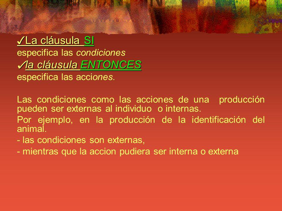 La cláusula SI La cláusula SI especifica las condiciones la cláusula ENTONCES la cláusula ENTONCES especifica las acciones. Las condiciones como las a
