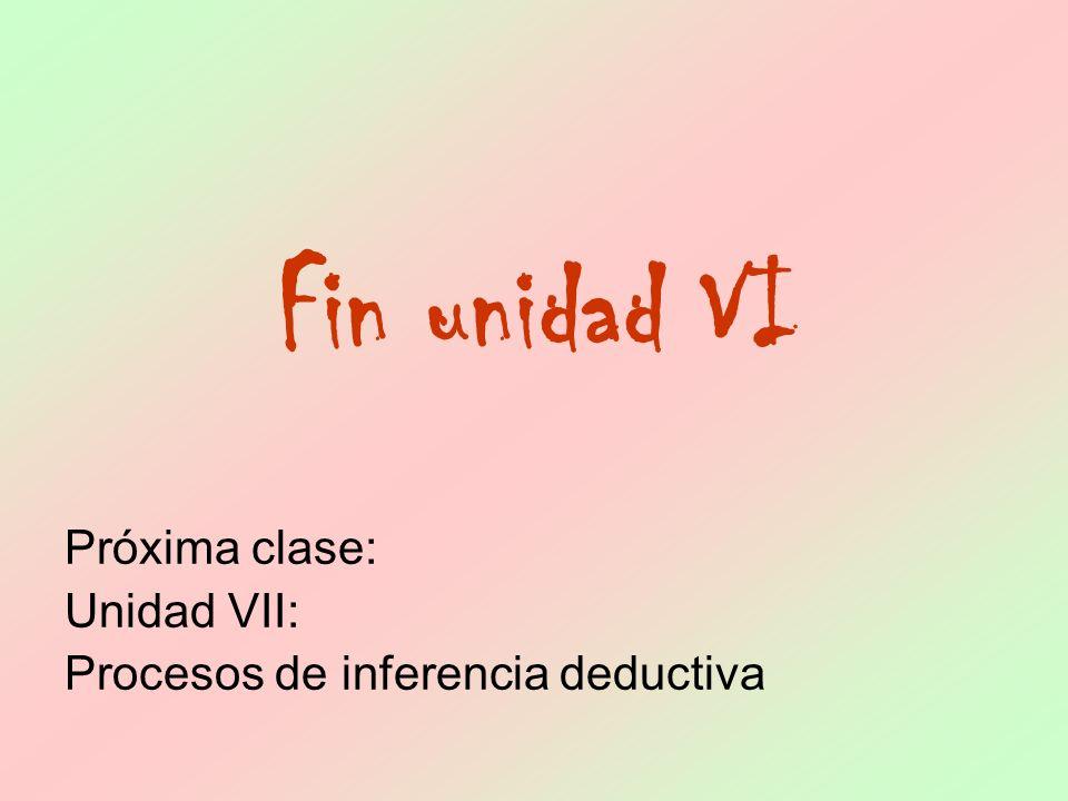 Próxima clase: Unidad VII: Procesos de inferencia deductiva Fin unidad VI