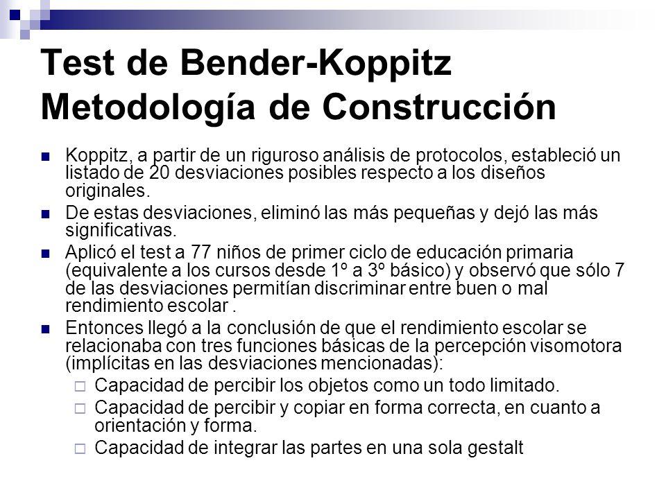 Test de Bender-Koppitz Metodología de Construcción Koppitz, a partir de un riguroso análisis de protocolos, estableció un listado de 20 desviaciones p