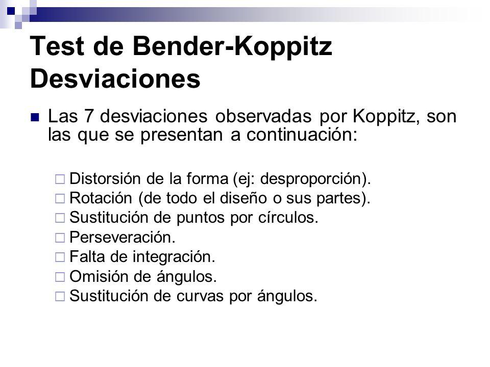 Test de Bender-Koppitz Desviaciones Las 7 desviaciones observadas por Koppitz, son las que se presentan a continuación: Distorsión de la forma (ej: de