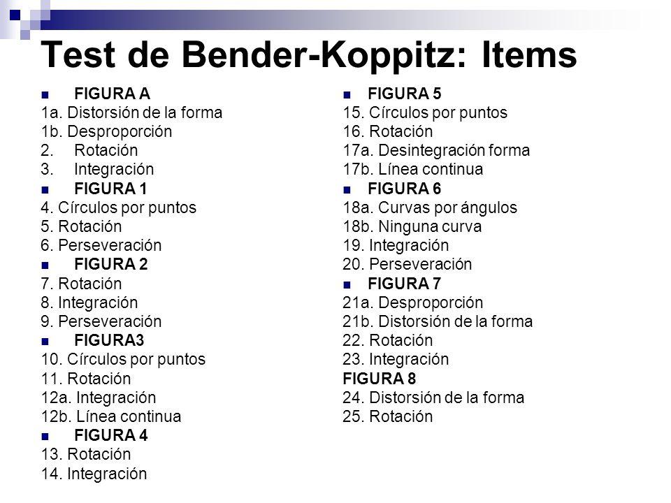 Test de Bender-Koppitz: Items FIGURA A 1a. Distorsión de la forma 1b. Desproporción 2.Rotación 3.Integración FIGURA 1 4. Círculos por puntos 5. Rotaci