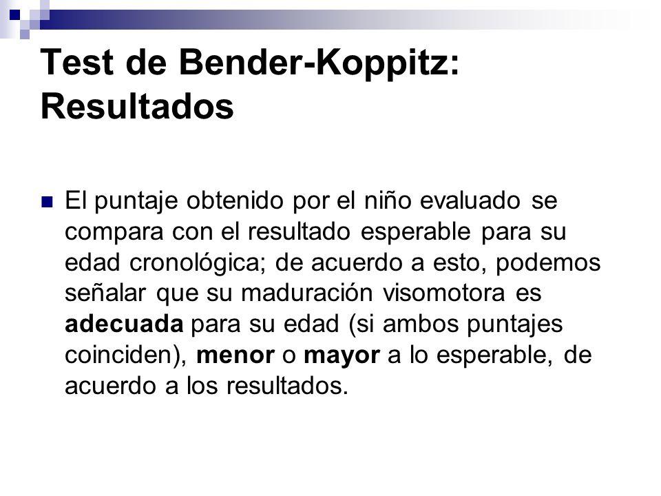 Test de Bender-Koppitz: Resultados El puntaje obtenido por el niño evaluado se compara con el resultado esperable para su edad cronológica; de acuerdo