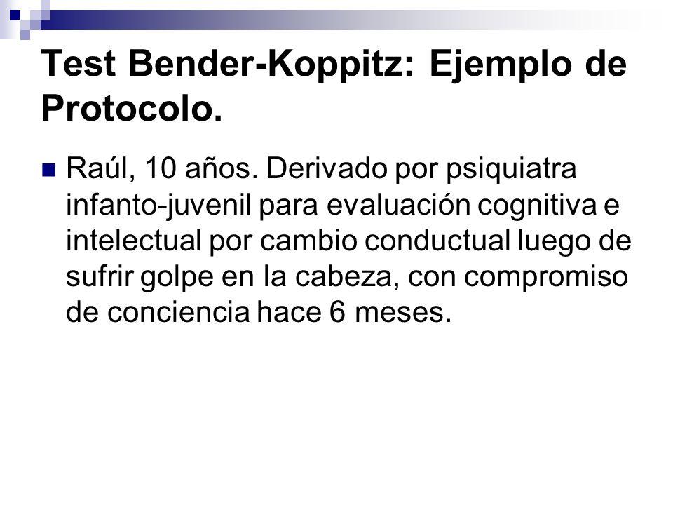 Test Bender-Koppitz: Ejemplo de Protocolo. Raúl, 10 años. Derivado por psiquiatra infanto-juvenil para evaluación cognitiva e intelectual por cambio c