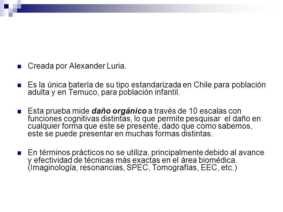 Creada por Alexander Luria. Es la única batería de su tipo estandarizada en Chile para población adulta y en Temuco, para población infantil. Esta pru