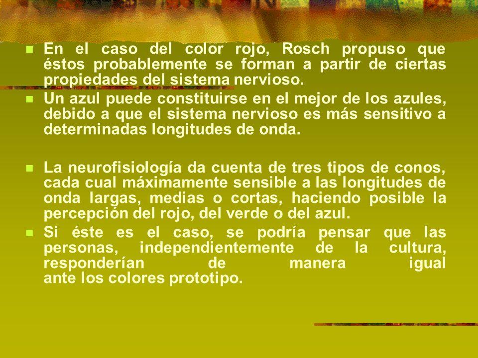 En el caso del color rojo, Rosch propuso que éstos probablemente se forman a partir de ciertas propiedades del sistema nervioso.