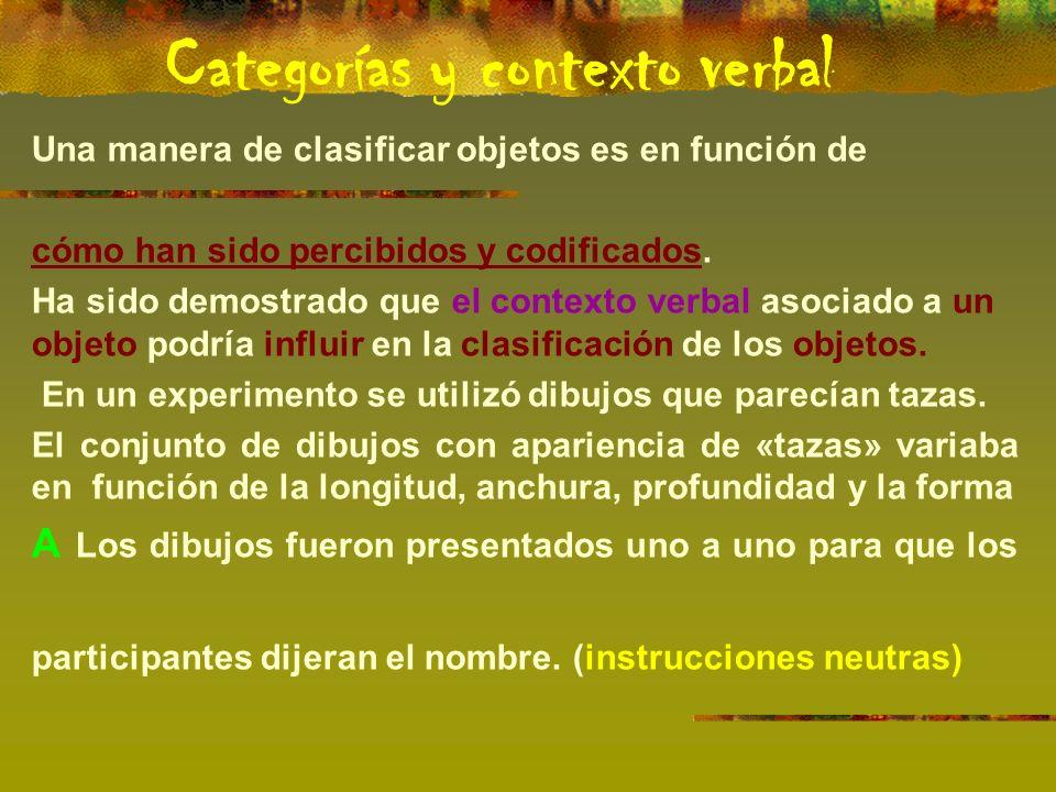 Una manera de clasificar objetos es en función de cómo han sido percibidos y codificados.