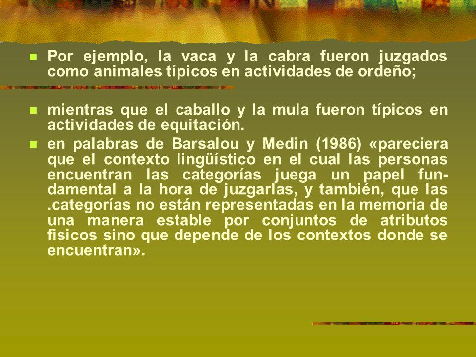 Por ejemplo, la vaca y la cabra fueron juzgados como animales típicos en actividades de ordeño; mientras que el caballo y la mula fueron típicos en actividades de equitación.
