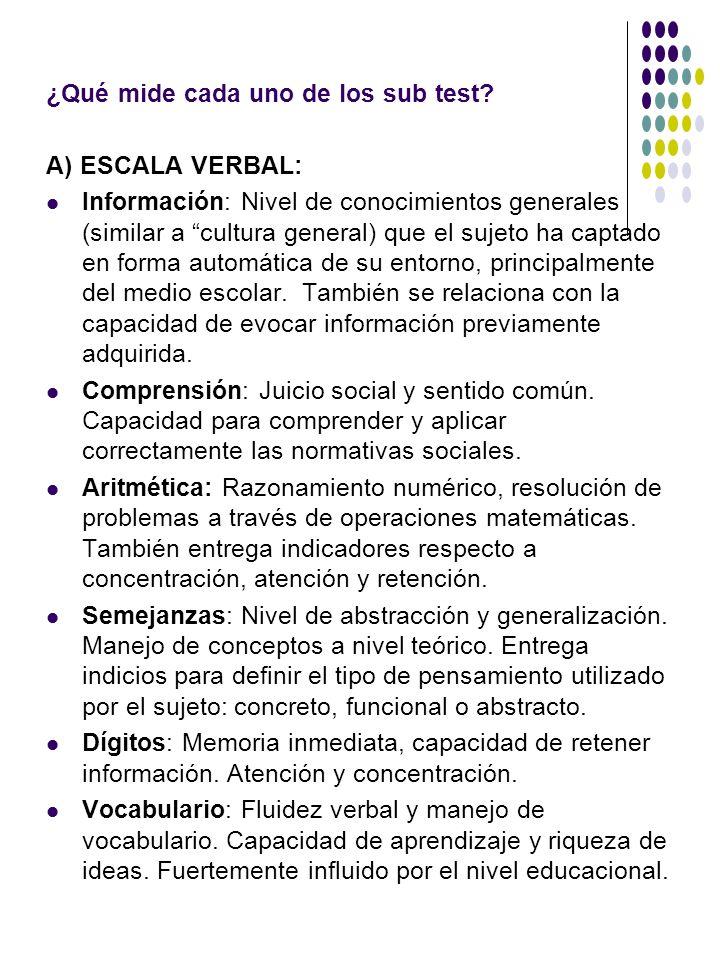 ¿Qué mide cada uno de los sub test? A) ESCALA VERBAL: Información: Nivel de conocimientos generales (similar a cultura general) que el sujeto ha capta