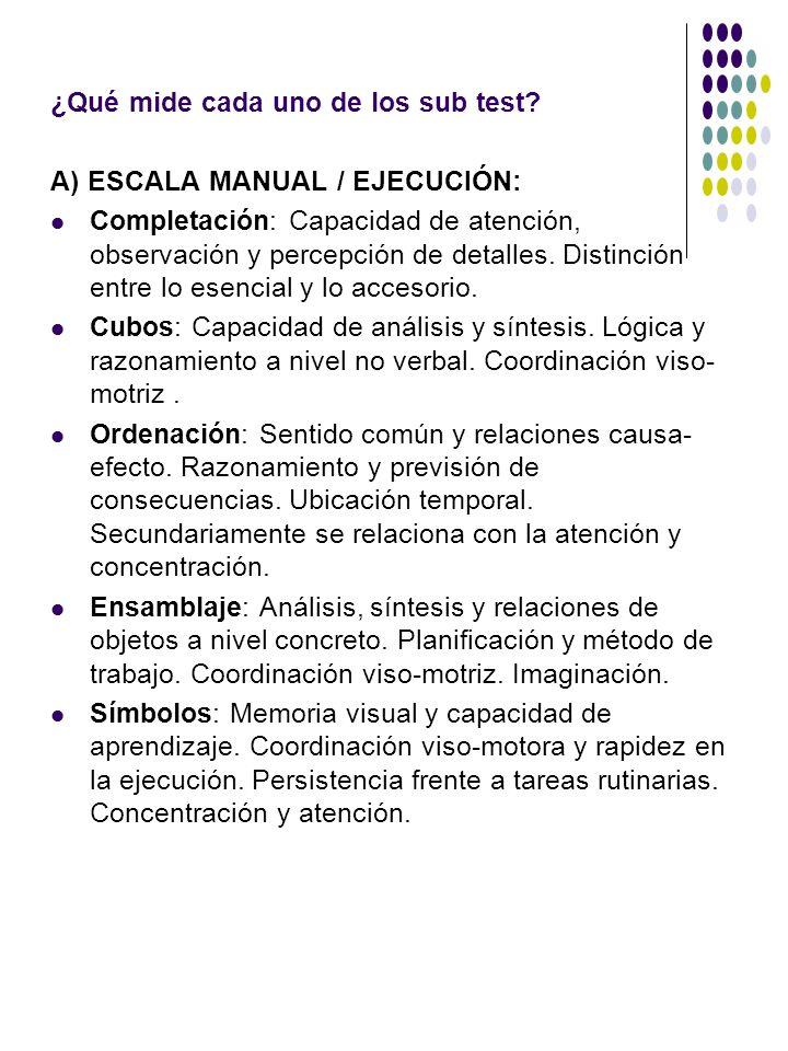 ¿Qué mide cada uno de los sub test? A) ESCALA MANUAL / EJECUCIÓN: Completación: Capacidad de atención, observación y percepción de detalles. Distinció