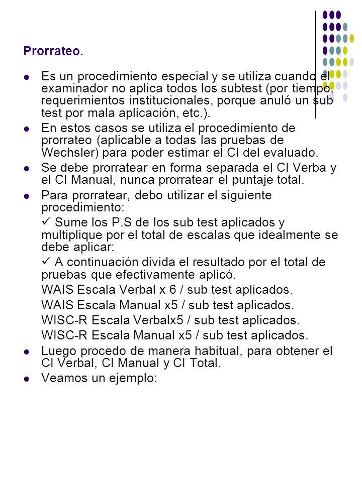Ejemplo Prorrateo Escala Verbal WAIS: Se aplican 4 subtest de la Escala Verbal (de 6).