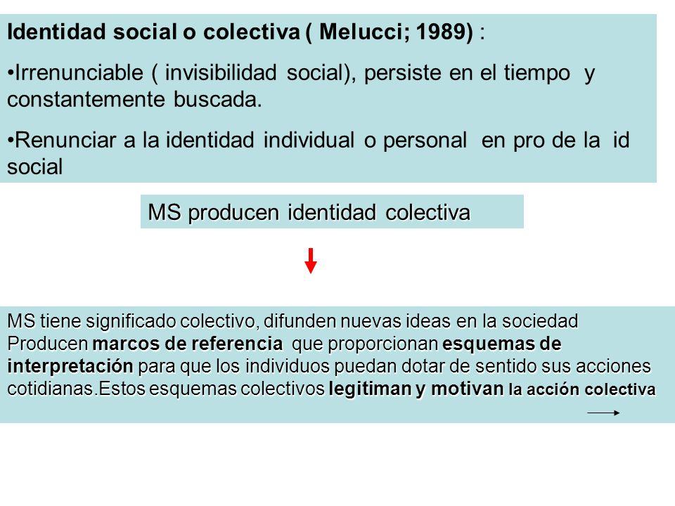 Identidad social o colectiva ( Melucci; 1989) : Irrenunciable ( invisibilidad social), persiste en el tiempo y constantemente buscada. Renunciar a la