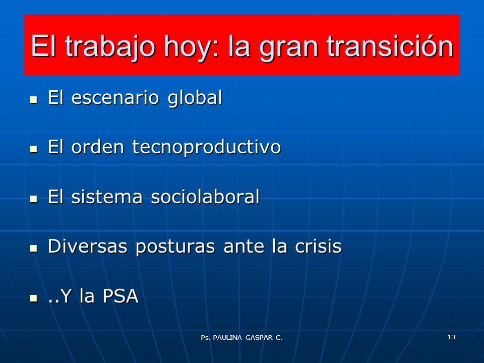 Ps. PAULINA GASPAR C. 13 El trabajo hoy: la gran transición El escenario global El escenario global El orden tecnoproductivo El orden tecnoproductivo
