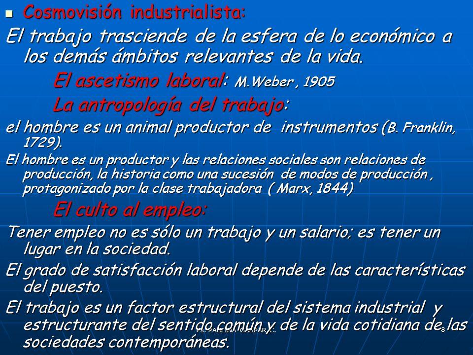 Ps. PAULINA GASPAR C. 8 Cosmovisión industrialista: Cosmovisión industrialista: El trabajo trasciende de la esfera de lo económico a los demás ámbitos