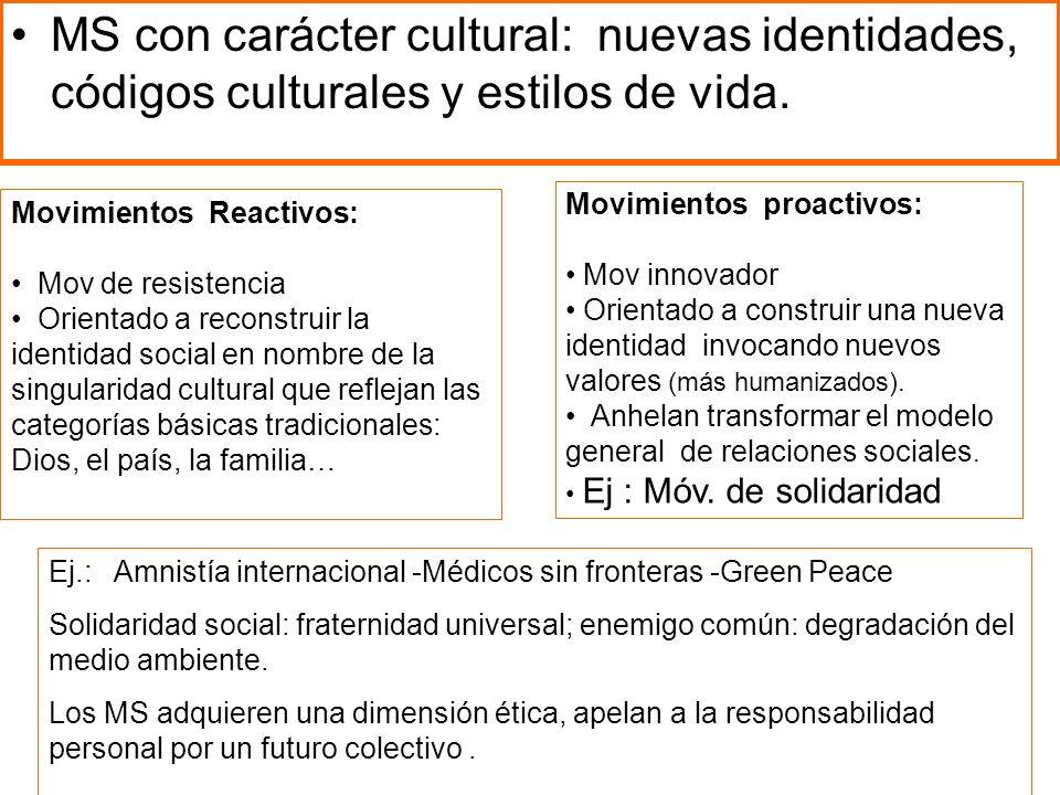MS con carácter cultural: nuevas identidades, códigos culturales y estilos de vida. Movimientos Reactivos: Mov de resistencia Orientado a reconstruir