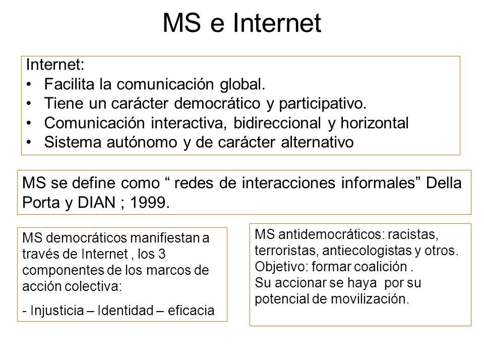 MS e Internet Internet: Facilita la comunicación global. Tiene un carácter democrático y participativo. Comunicación interactiva, bidireccional y hori