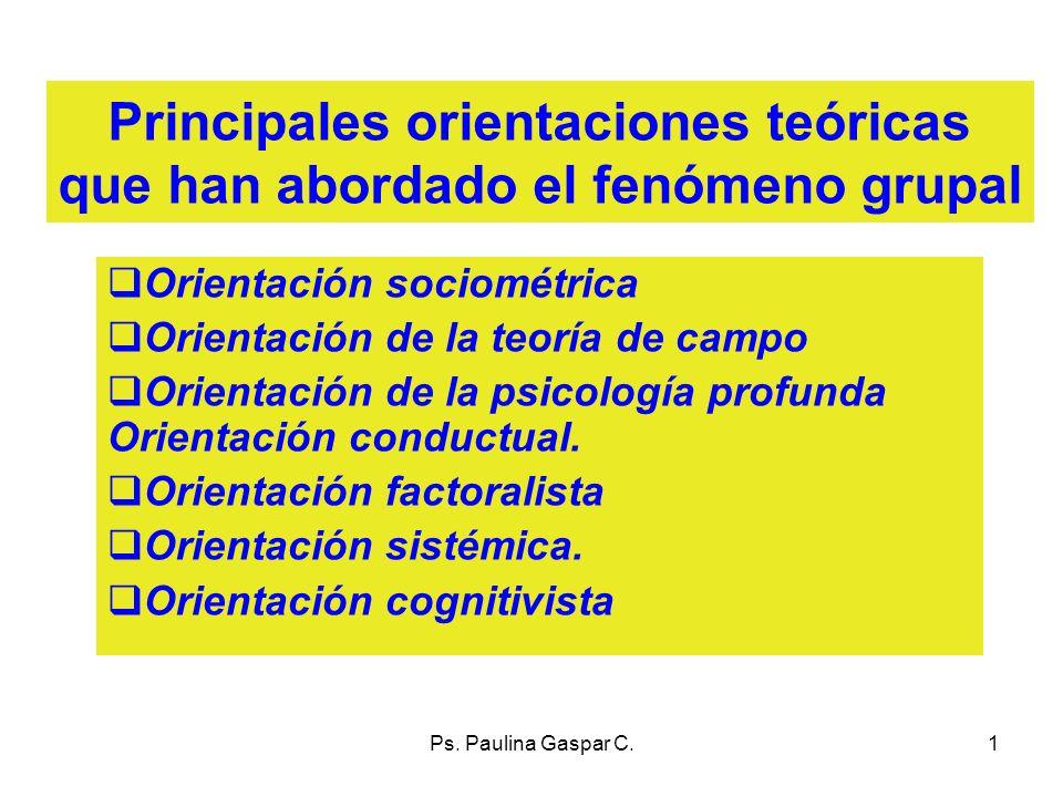 Ps. Paulina Gaspar C.1 Principales orientaciones teóricas que han abordado el fenómeno grupal Orientación sociométrica Orientación de la teoría de cam