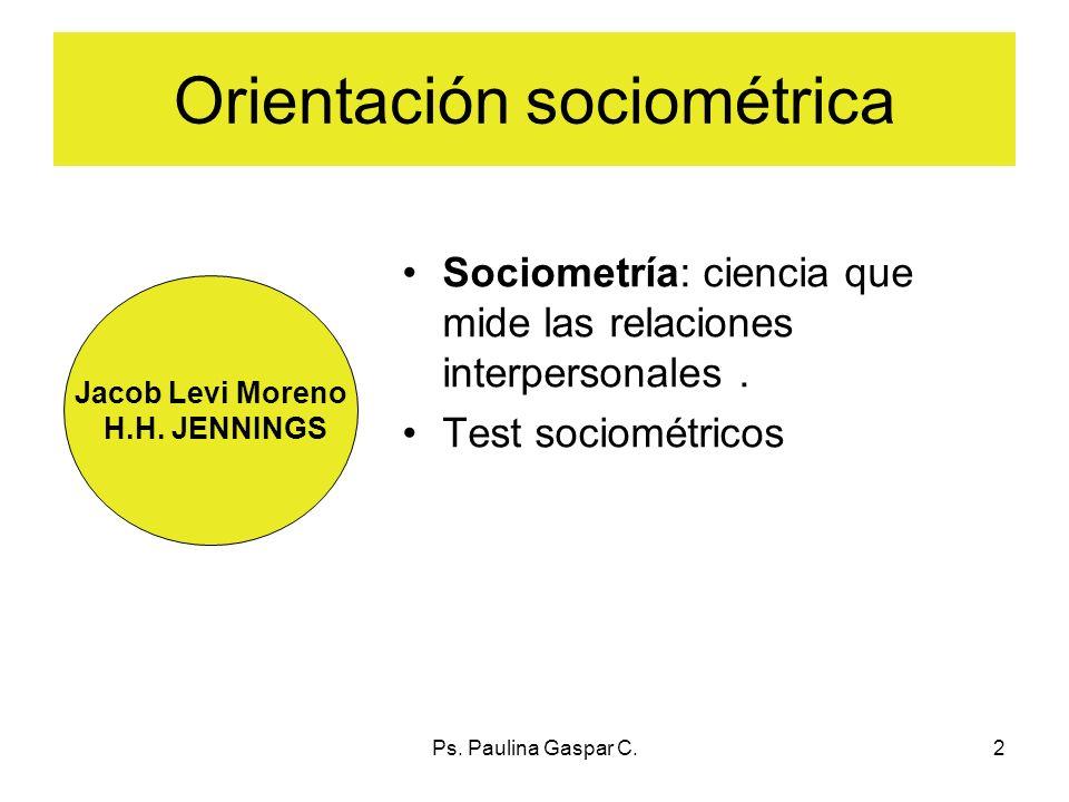 Ps. Paulina Gaspar C.2 Orientación sociométrica Sociometría: ciencia que mide las relaciones interpersonales. Test sociométricos Jacob Levi Moreno H.H