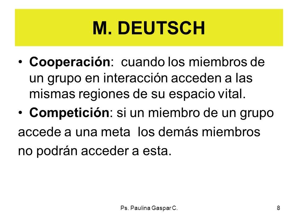 Ps. Paulina Gaspar C.8 M. DEUTSCH Cooperación: cuando los miembros de un grupo en interacción acceden a las mismas regiones de su espacio vital. Compe