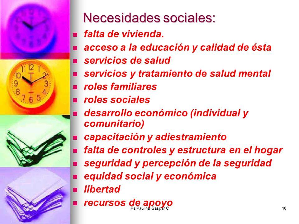 Ps Paulina Gaspar C10 Necesidades sociales: falta de vivienda. acceso a la educación y calidad de ésta servicios de salud servicios y tratamiento de s