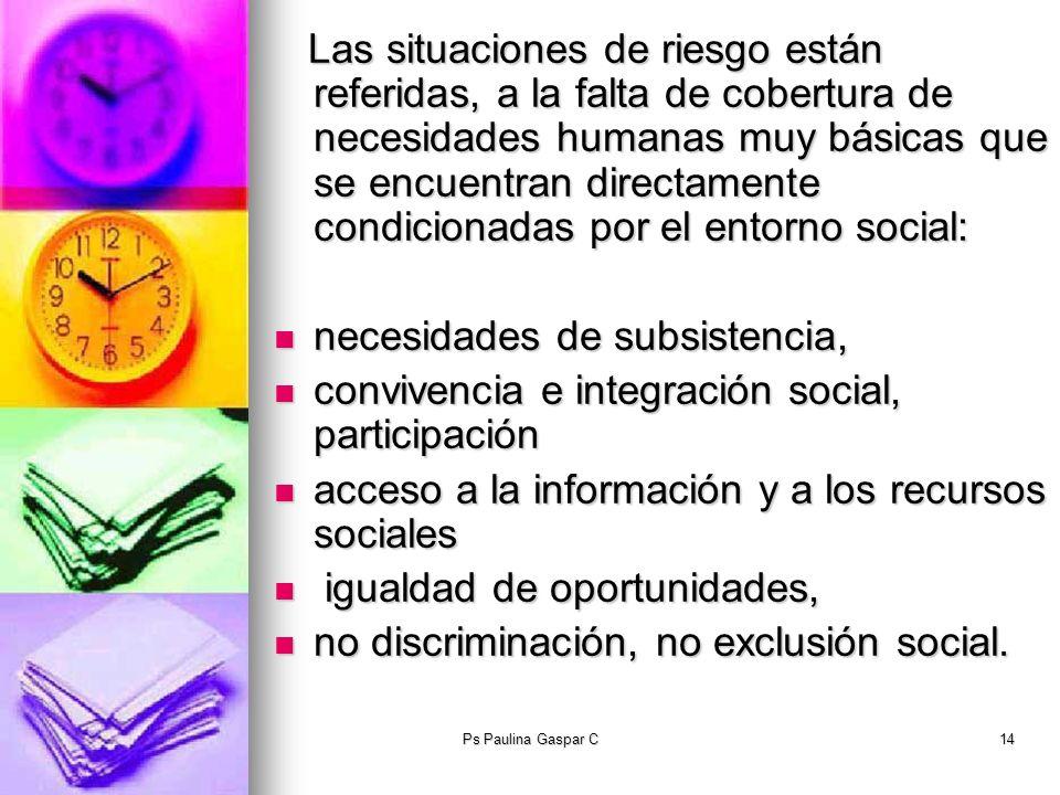 Ps Paulina Gaspar C14 Las situaciones de riesgo están referidas, a la falta de cobertura de necesidades humanas muy básicas que se encuentran directam