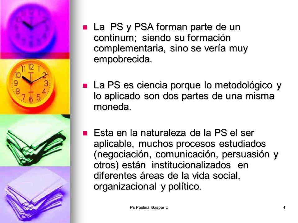 Ps Paulina Gaspar C4 La PS y PSA forman parte de un continum; siendo su formación complementaria, sino se vería muy empobrecida. La PS y PSA forman pa