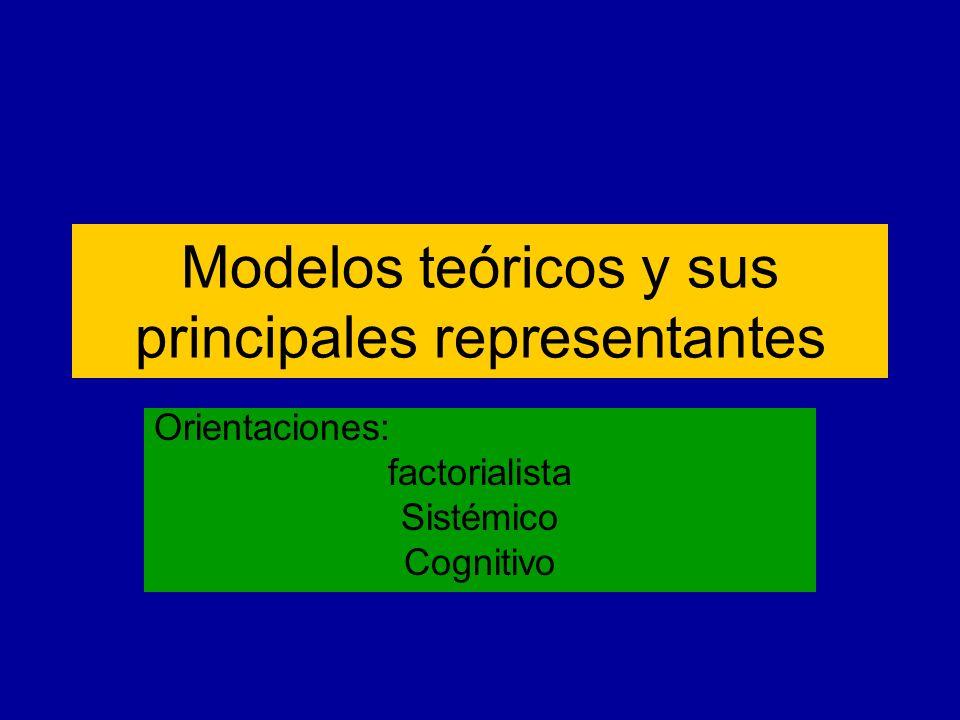 Modelos teóricos y sus principales representantes Orientaciones: factorialista Sistémico Cognitivo