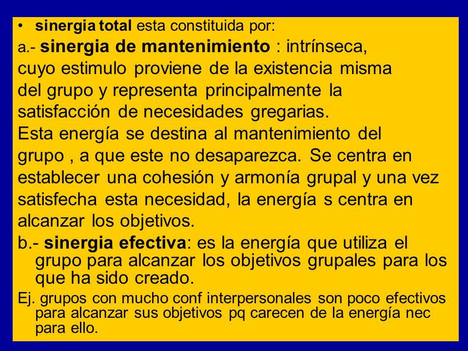 sinergia total esta constituida por: a.- sinergia de mantenimiento : intrínseca, cuyo estimulo proviene de la existencia misma del grupo y representa