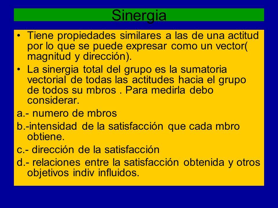 Sinergia Tiene propiedades similares a las de una actitud por lo que se puede expresar como un vector( magnitud y dirección). La sinergia total del gr