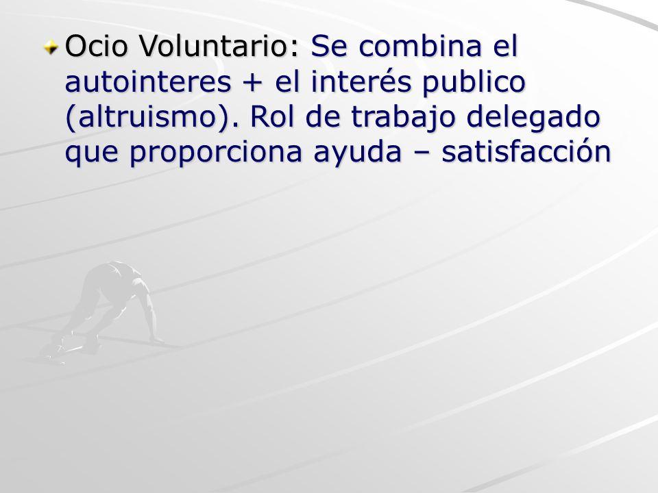 Ocio Voluntario: Se combina el autointeres + el interés publico (altruismo). Rol de trabajo delegado que proporciona ayuda – satisfacción