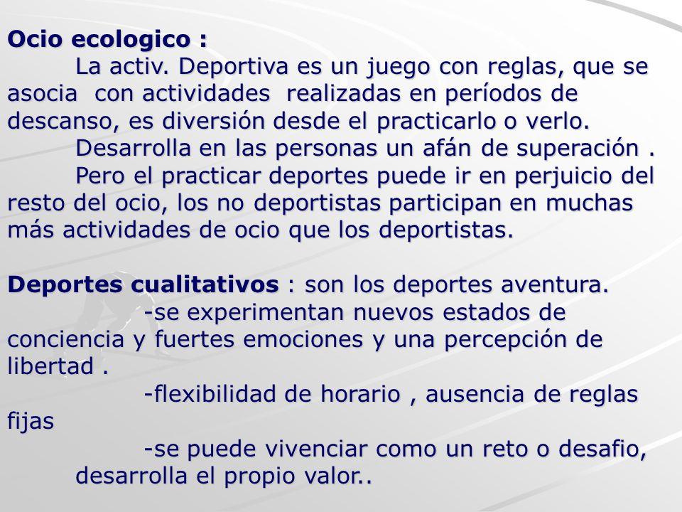 Ocio ecologico : La activ. Deportiva es un juego con reglas, que se asocia con actividades realizadas en períodos de descanso, es diversión desde el p
