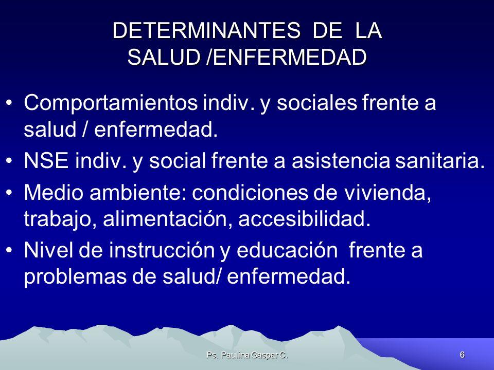 Ps. Paulina Gaspar C.6 DETERMINANTES DE LA SALUD /ENFERMEDAD Comportamientos indiv. y sociales frente a salud / enfermedad. NSE indiv. y social frente