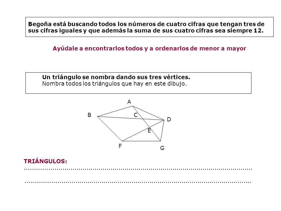 Begoña está buscando todos los números de cuatro cifras que tengan tres de sus cifras iguales y que además la suma de sus cuatro cifras sea siempre 12