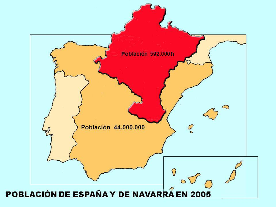 Población 44.000.000 Población 592.000 h POBLACIÓN DE ESPAÑA Y DE NAVARRA EN 2005