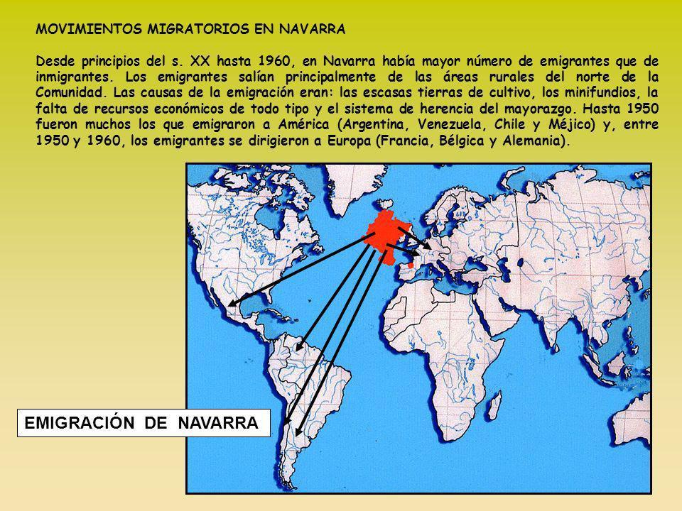 MOVIMIENTOS MIGRATORIOS EN NAVARRA Desde principios del s. XX hasta 1960, en Navarra había mayor número de emigrantes que de inmigrantes. Los emigrant
